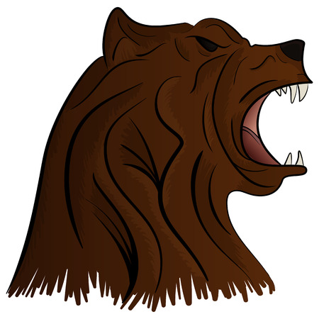 Angry Bear Head Mascot Vector Illustration isolated on white background Illustration