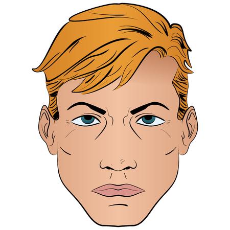 Illustration of a man in a pop art, comic style cartoon head of a man pop art pattern