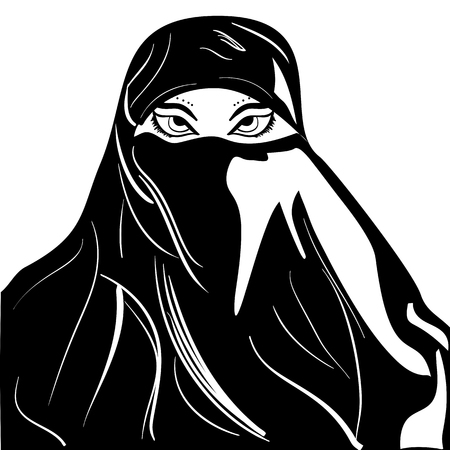 Beautiful arabic muslim woman outline style, vector Young Arabic muslim woman in traditional clothing