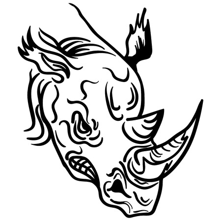 The stylized image of a rhino head. Vector stylized face of ink sketch rhino. Rhino, tribal tattoo Vector illustration.