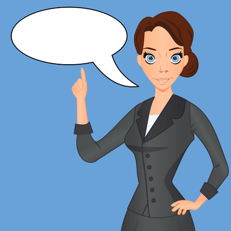 critical: Woman in business suit with speech bubble, speech balloon, index finger raised up