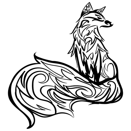 Stylized fox. Forest animals. Cute fox. Line art. Black and white drawing by hand. Graphic arts. Tattoo. 向量圖像