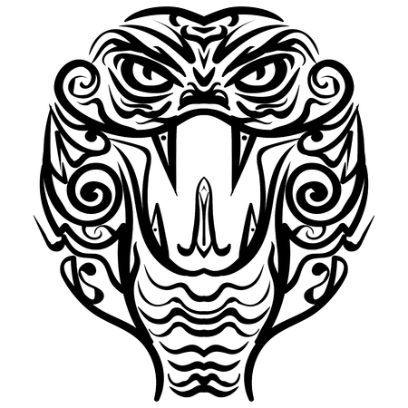 indium: Cobra head sketch tattoo. Patterned colored head of the King Cobra. African, indian tattoo design.