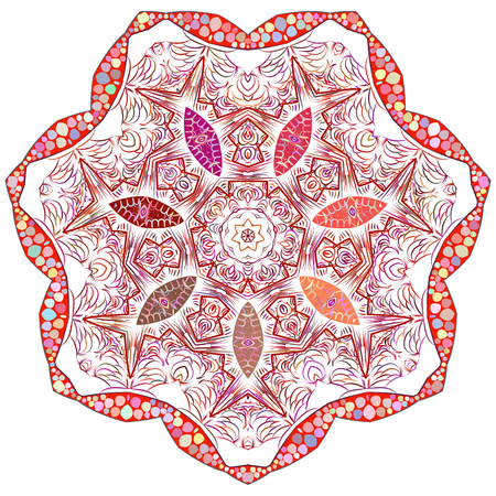 scrollwork: Vector Indian ornament, kaleidoscopic floral pattern, mandala. Ornamental round lace pattern, circle background with many details
