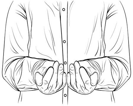 Ink sketch men hands hold something vector cupped hands