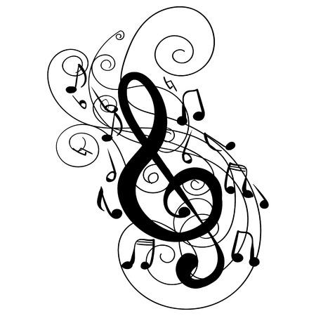 Wervelwervel treble sleutel sleutel hand getekende doodle geïsoleerde vector tattoo schets muziek sleutel