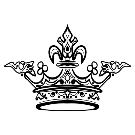 Hand drawn crown. Vintage engraved illustration tattoo sketch crown