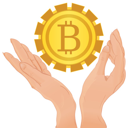 Hands holding bitcoin isolated on the white background, vector illustration