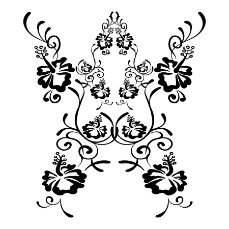lineart: Hibiscus flowers drawing and sketch with line art. Tattoo sketch hibiscus on white background. Illustration