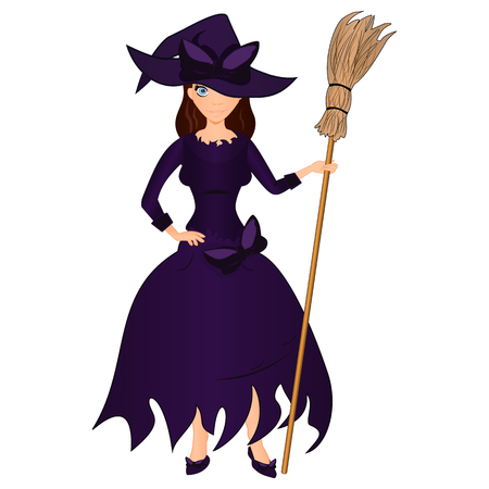 Halloween holiday. Cute girl witch with a broom. Cartoon halloween illustration on a white background