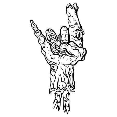 Rock zombie hand in Heavy metal sign horns; Rock gesture  fingers illustration.