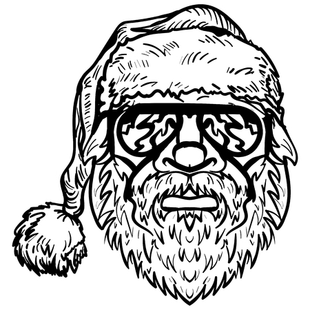 Santa Claus in sunglasses, Christmas symbol hand drawn vector illustration sketch isolated on a white background