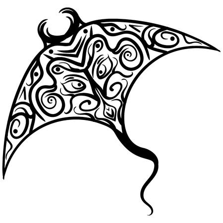 Stylized ornament hand drawn devil ray fish Illustration