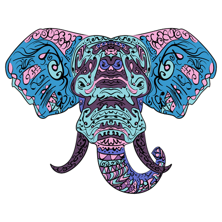 Elephant head boho illustration in doodles style. Multicolored stylized elephant head tangled vector.