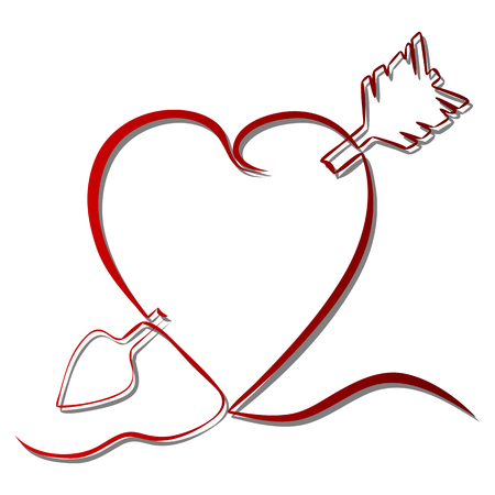 Continuous line drawing red heart pierced by an arrow vector illustration.