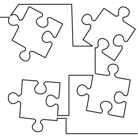 Continuous one line drawing of four pieces of jigsaw on white background vector illustration. Black thin line of puzzle icon. Illustration