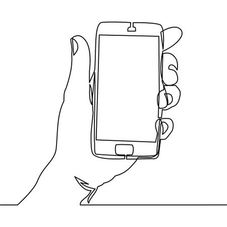 Dibujo de línea continua de mano que sostiene teléfono inteligente Vector ilustración aislada