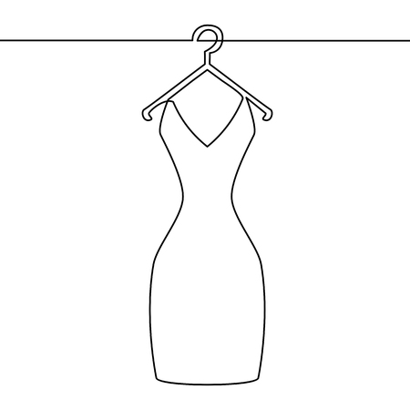 One line drawing of isolated vector object woman dress on hanger. Black and white vector minimalistic hand drawn illustration