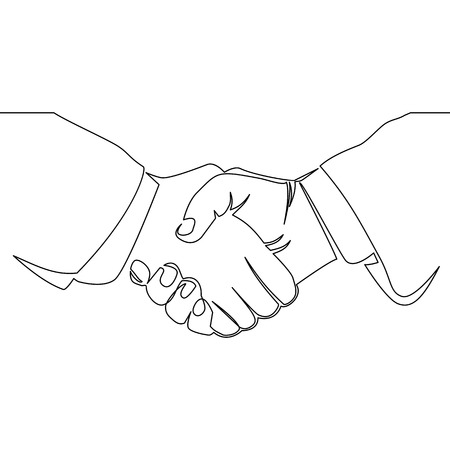 continuous line drawing of handshake one line drawing isolated vector Illustration