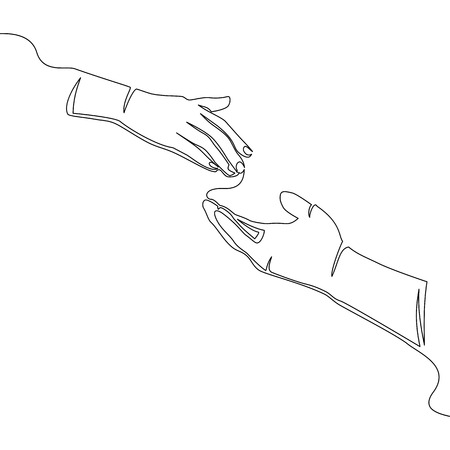 Helping hand concept. Gesture, sign offering something. Isolated line illustration on white background continuous line drawing Illustration