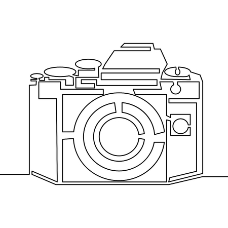 One line drawing of camera. Black vector image isolated on white background. Illustration