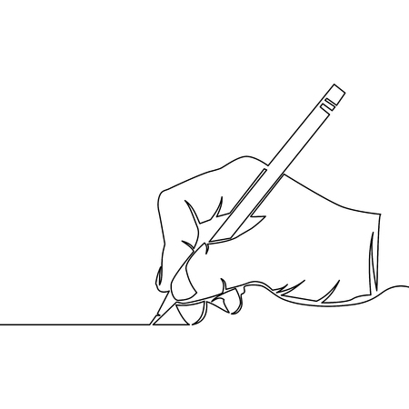 One continuous line drawing of hand drawing a line vector illustration Vettoriali