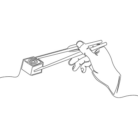 One continuous line Hand drawn hand holding chopsticks with sushi. Black and white Japanese rolls. Vector illustration Vectores