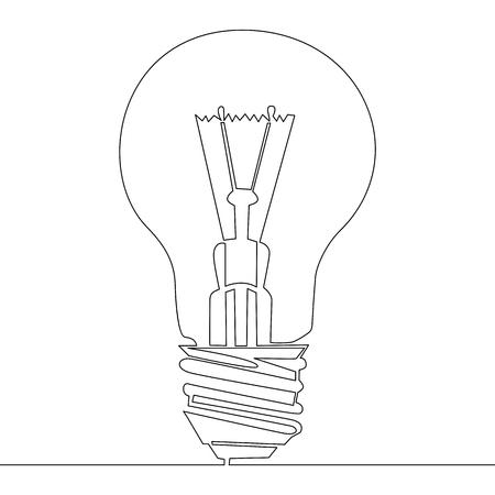Idée de symbole d'ampoule de dessin continu d'une ligne. Illustration vectorielle