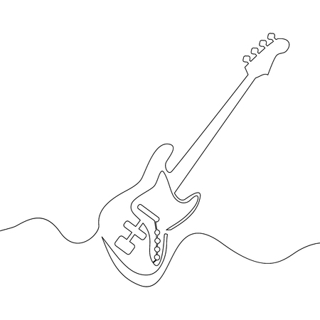 Continuous one line drawing of electric guitar Vector illustration Illustration