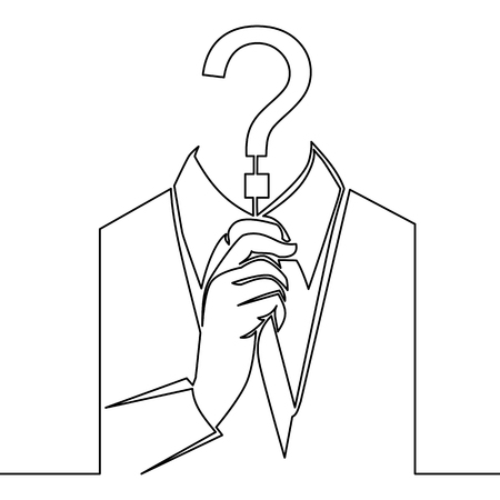 Single continuous line art incognito, unknown person, silhouette of man anonymous on white background