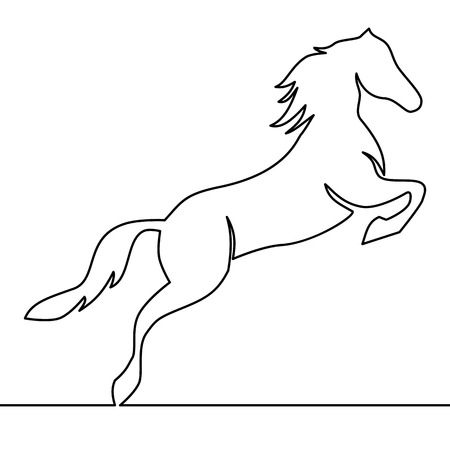 Continuous one line drawing. Horse logo. Black and white vector illustration