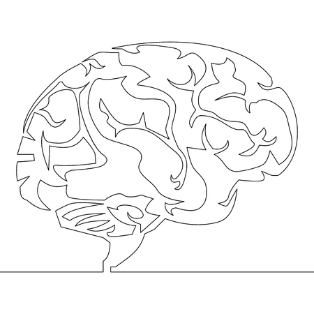 Continuous one line brain design silhouette.Logo design. Hand drawn minimalism style vector illustration.