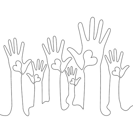 Continuous one line Hands with hearts. Raised hands volunteering vector concept