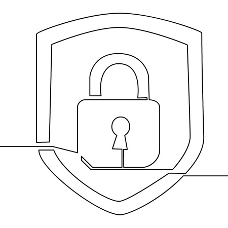Continuous one line drawing icon security lock Vector illustration Illustration