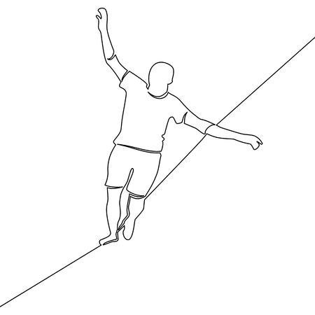Ein kontinuierlicher Mann geht auf einem Drahtseil-Geschäftsherausforderungskonzept Risiko und Gefahr