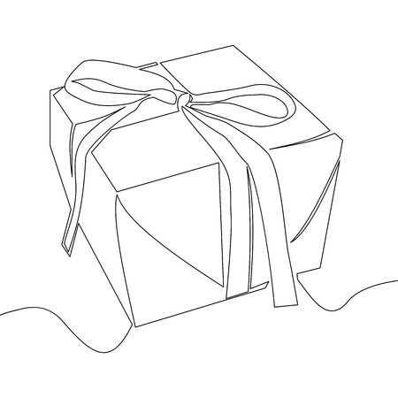Continuous line drawing of gift box concept vector illustration Isolated on white background. Иллюстрация