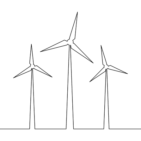 Continuous one line drawn wind turbine alternative energy. Concept symbol of ecology and protection of nature Vector illustration Illustration