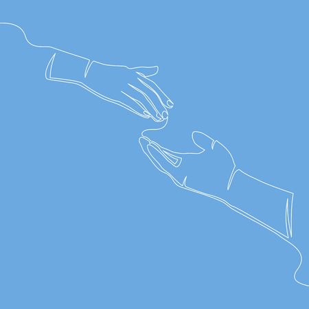 Caring hand logo continuous line drawing concept charity vector illustration isolated on blue background.