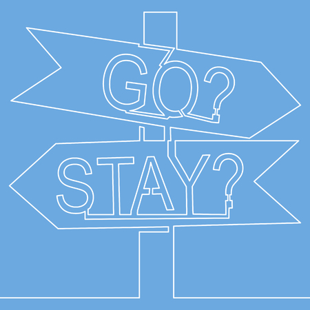 One continuous line drawing of road sign arrows isolated on blue background. Vector illustration Signpost in two directions choice to stay or go Illustration