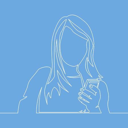 continuous line drawing of woman reading mobile phone vector illustration isolated on blue background.