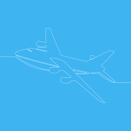 continuous one line drawing aircraft modern minimalistic style vector illustration isolated on blue background