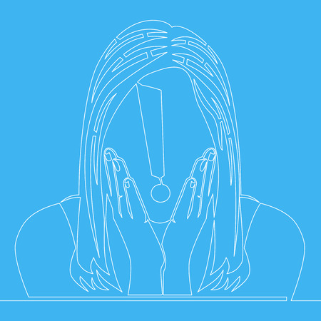 Single continuous line Surprised woman vector illustration isolated on blue background
