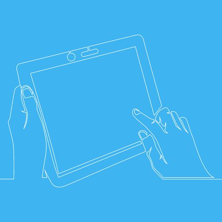 Continuous one line drawing hand holding tablet with finger pointing and touching at screen vector illustration