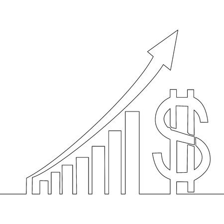 Continuous One Line Drawing profit dollar graphs vector illustrations