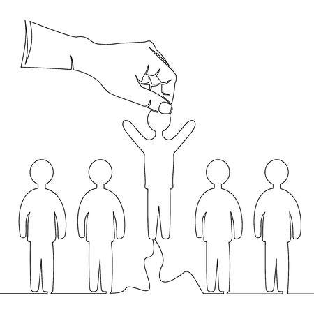 Continuous line drawing hand picking up one person from a row of people recruitment concept vector illustration