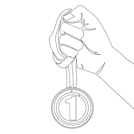 Continuous line drawing Hand Holding Medal Number One vector icon Best Reward vector illustration Concept