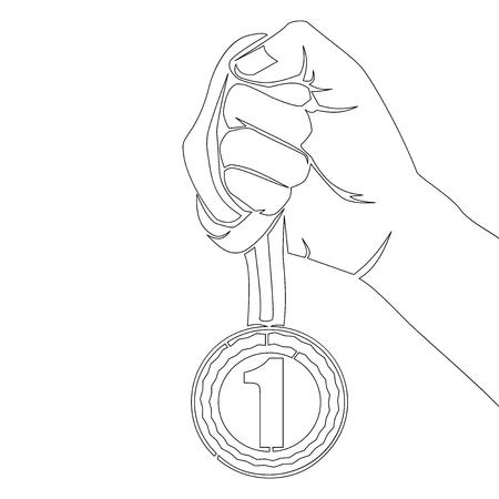 Dessin au trait continu main tenant la médaille numéro un vecteur icône meilleure récompense illustration vectorielle Concept