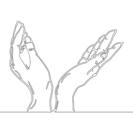 continuous line drawing of hands holding something vector illustration Illustration