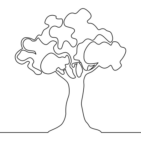 Tree continuous one line drawing of nature tree vector illustration