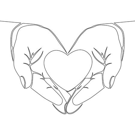 One continuous line drawing hand holding heart on white background vector illustration organ donation concept Vectores